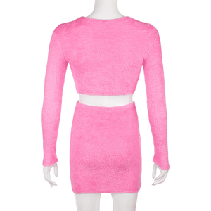 Irresistible - Hairy Long Sleeve crop top and miniskirt two piece sets