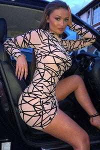 Sheer Babe - Long sleeve mini dress
