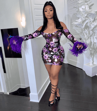 Feathers Purple Floral Off See through Bodycon Dress