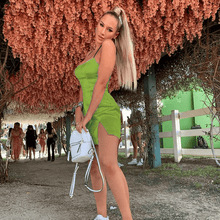 Load image into Gallery viewer, Curvy Asian Green Spaghetti High Waist Strap Flare Mini Dresses