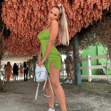 Curvy Asian Green Spaghetti High Waist Strap Flare Mini Dresses