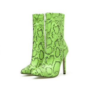 Play Girl - Ankle Stiletto Snake Print Boots
