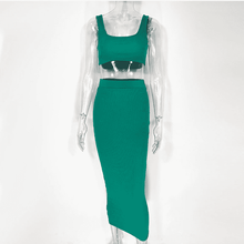 Load image into Gallery viewer, Asian Boss Crop Top And Long Skirt Two Piece Sets