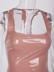 Doll Mood Neon Leather Bodycon Dresses
