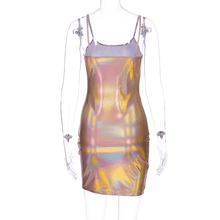 Load image into Gallery viewer, Aesthetic Sleeveless Reflective Mini Dress - Peach