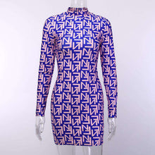 Load image into Gallery viewer, Celeb Letter Printed High Neck Long Sleeve Purple Mini Dress