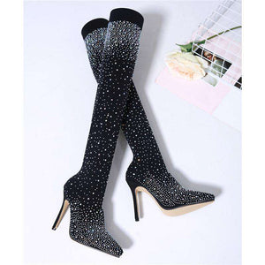 Diamond Legs Crystal Knee High Boots