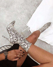Load image into Gallery viewer, Play Girl - Ankle Stiletto Snake Print Boots