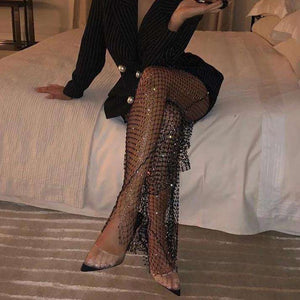 Influencer - Crystal Diamond Fishnet Trousers