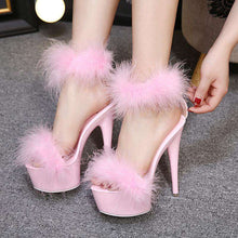 Load image into Gallery viewer, Mean Girl Super High Heel Fur Sandals