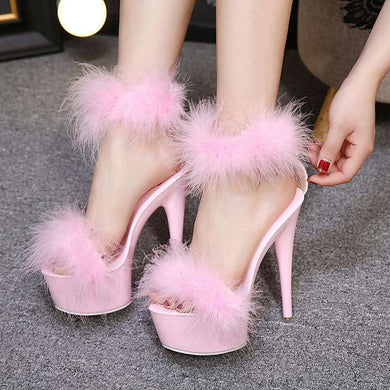 Mean Girl Super High Heel Fur Sandals
