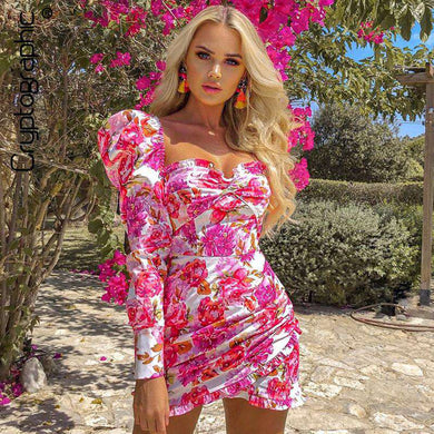 Spring Pink Floral Shoulder Long Sleeve Dress