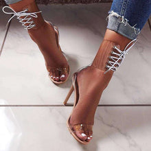 Load image into Gallery viewer, Lace up open toe high heel sandals