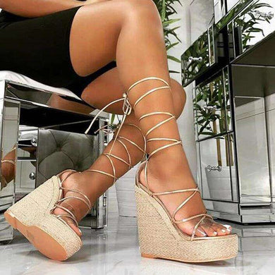 High Heels Sandals Strap Lace Up Spring Wedges