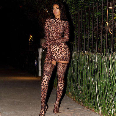 Leopard Print Glove and Socks Mini Dress