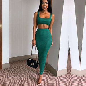 Asian Boss Crop Top And Long Skirt Two Piece Sets