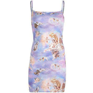 Aesthetic Renaissance Print Sleeveless Strap Mini Dress