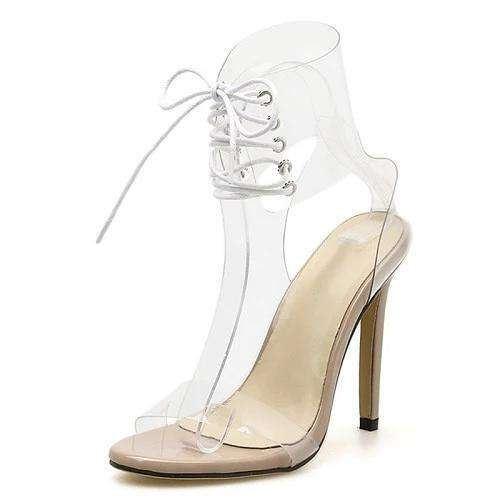 Lace up open toe high heel sandals