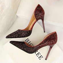 Load image into Gallery viewer, Billion Dollar Baby Story glitter party sequins high heel pumps - Red