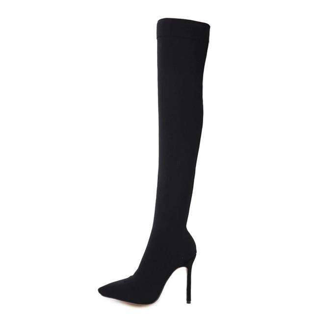 Stretchy black knit pointed toe knee high sock boots