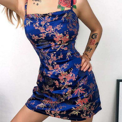 Floral Jacquard Satin Sexy Mini Dress