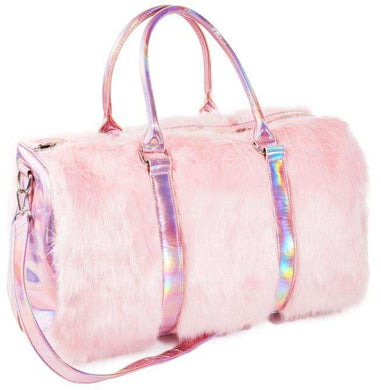 Harajuku Barbie Rainbow Handbags Faux Fur Large Tote Bags