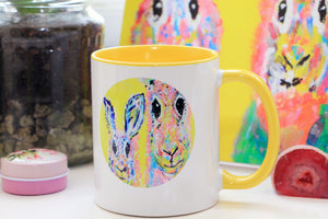 Hand Made Ceramic Rabbit Mug with Colour Inside