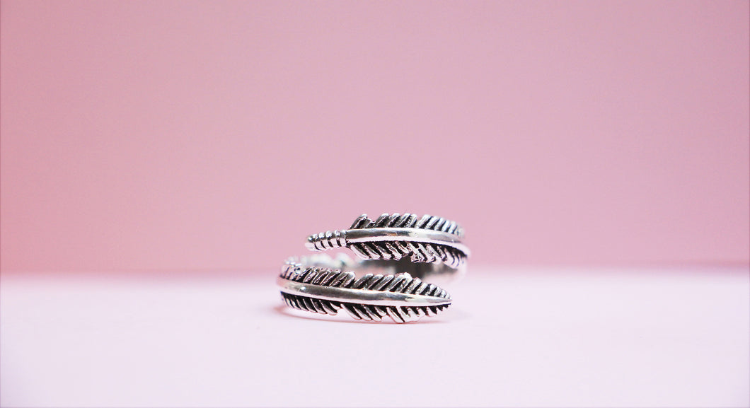 Bohemian Style 925 Sterling Silver Feather Ring