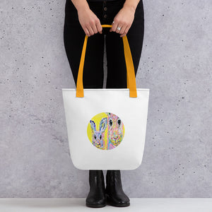 "Tote Bag with Multicoloured Rabbit Collection Art Print 15""x15"""