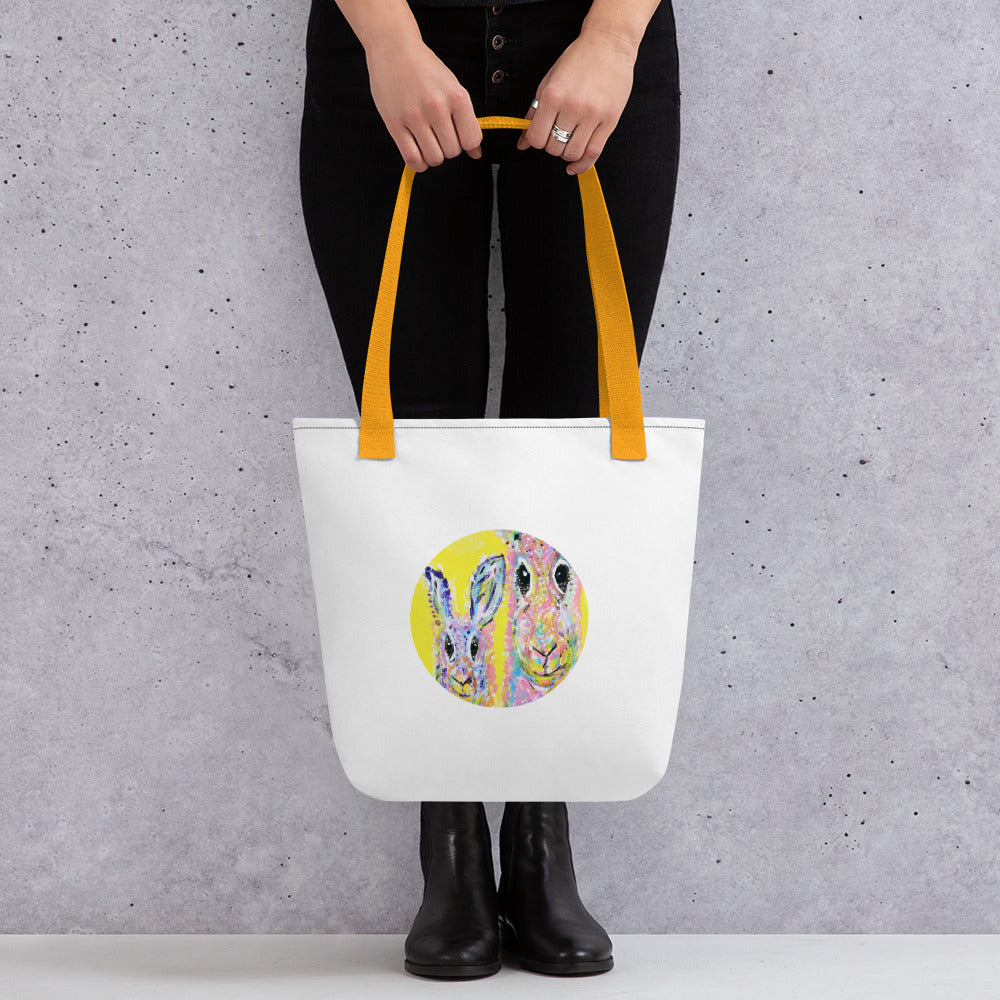 Tote Bag with Multicoloured Rabbit Collection Art Print 15