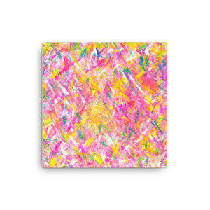 Contemporary Art / Oil and Acrylic on Canvas- 12 x12 Inch -Yellow Heart