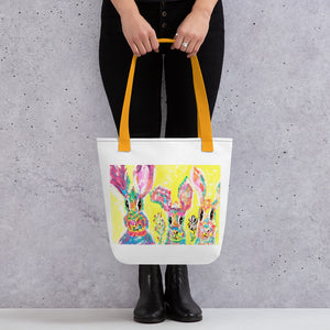 Rabbits in Lavender Tote Bag