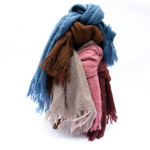 mohair throw - red wood