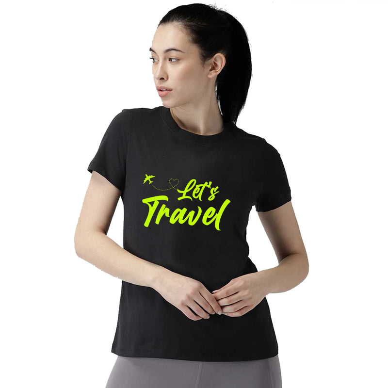 Let's Travel Printed Women T-Shirt