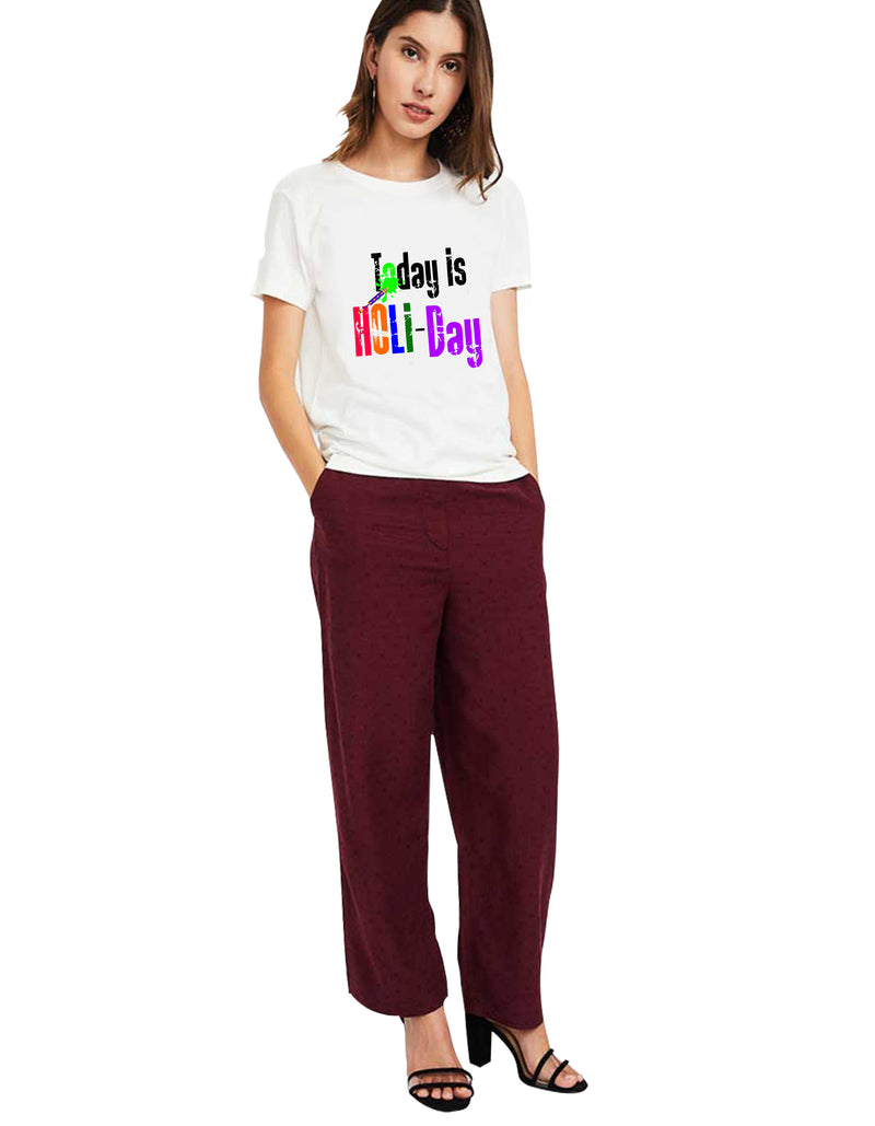 Holi Special White Women T-Shirt