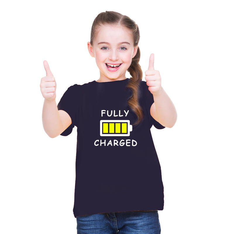 Fully Charged  printed Girl Half Sleeves T-Shirt