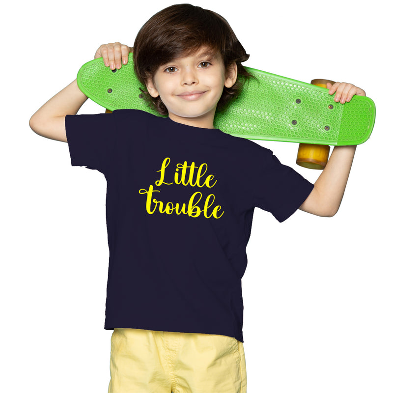 Little Trouble Printed Boys Half Sleeves T-Shirt