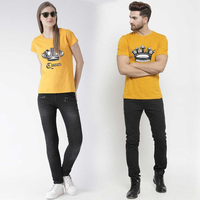 Crown King queen Mustard Couple Tees