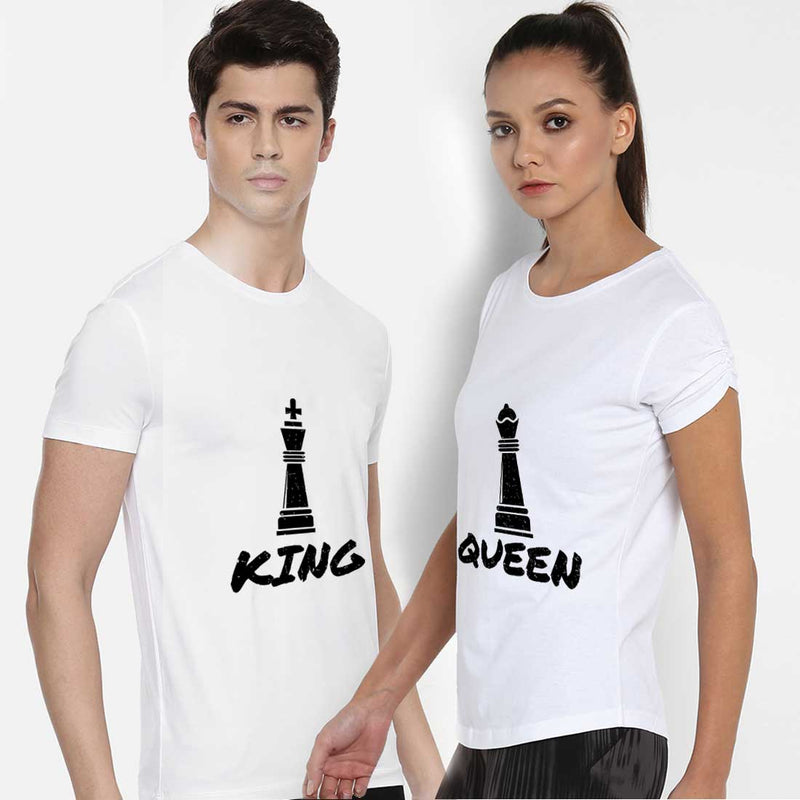 King and Queen White Couple Tees