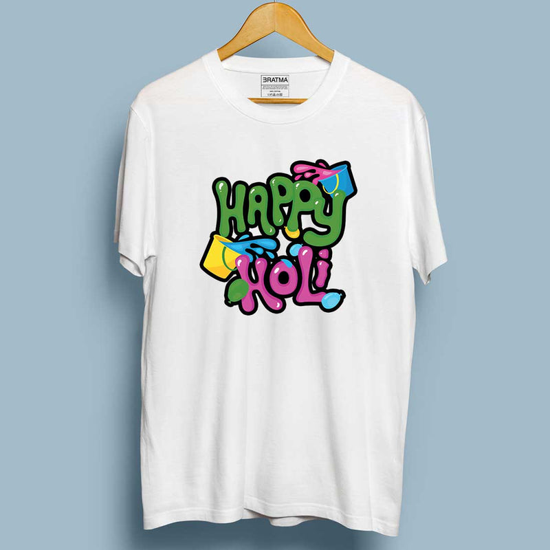 Happy Holi White Women T-Shirt