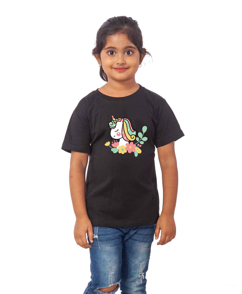 Unicorn Face Half Sleeves T-Shirt For Kids