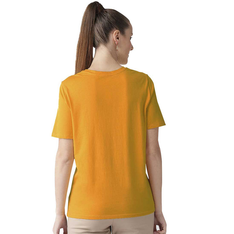 Woman Mustered Half Sleeves Plain T-Shirt