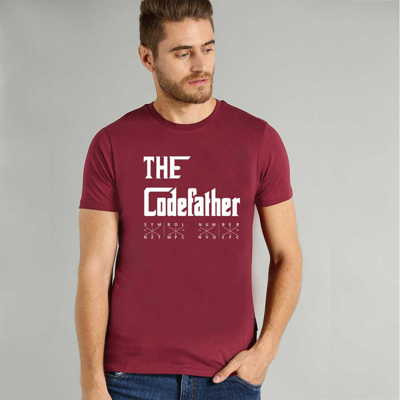The Code Father Men Maroon T Shirt