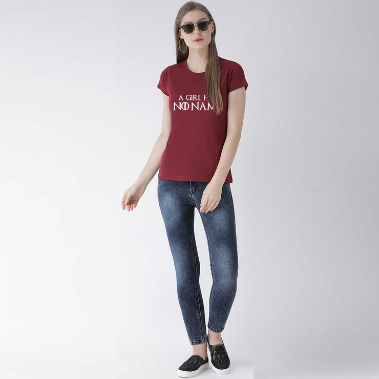 A Girl Has No Name Maroon Women T-Shirt
