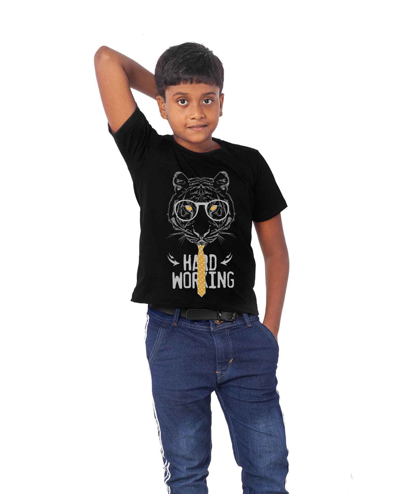 Hard Working Half Sleeves T-Shirt For Kids
