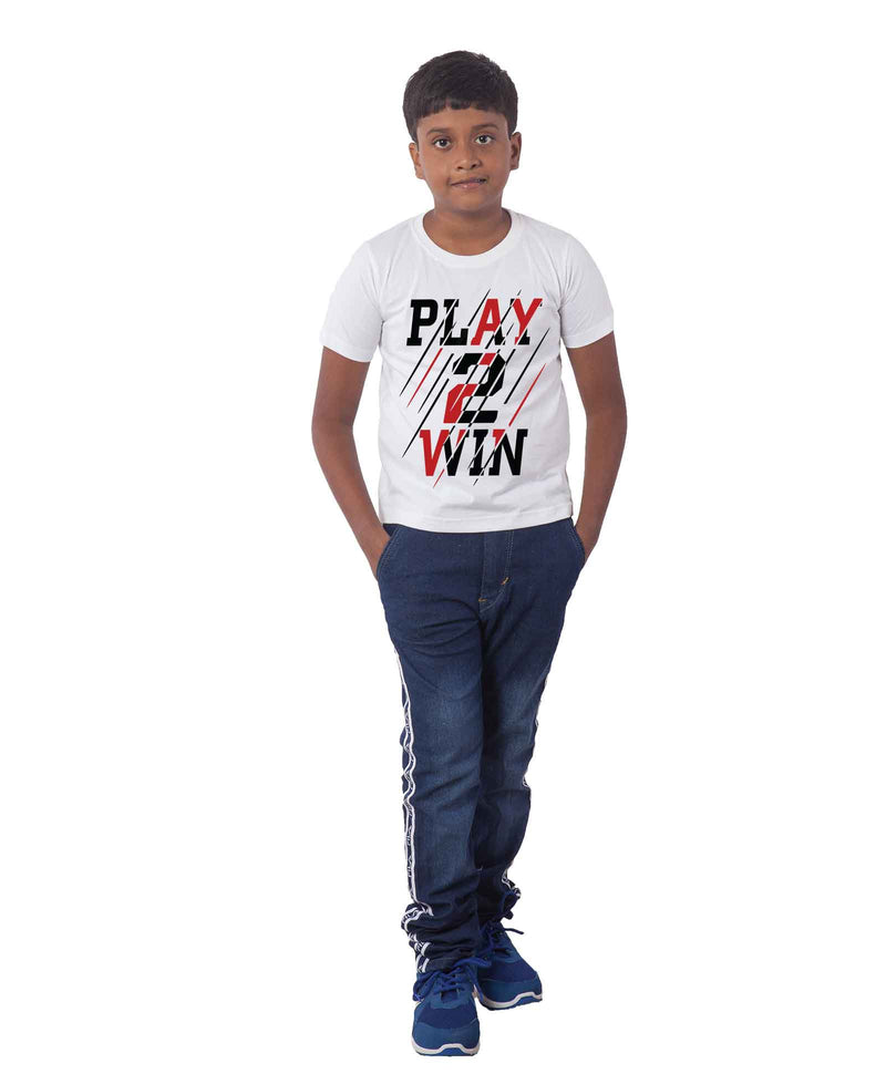 Play to win Half Sleeves T-Shirt For Kids