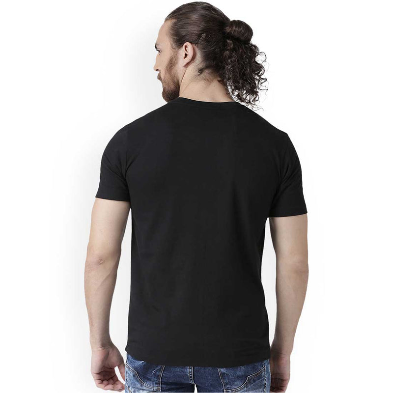 Men Black Half Sleeve Plain T-Shirt