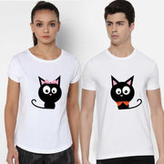 Cats White Couple Tees
