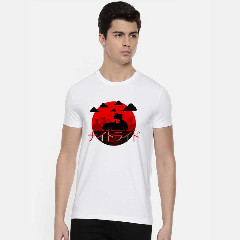 Jappanesse Night Ride White Men T-Shirt