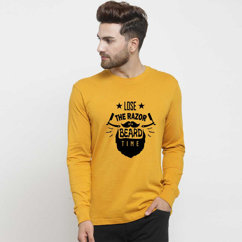 Lose The Razor Mustard Full sleve Men T-Shirt